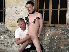 Naked guys With his fragile nuts tugged and his man sausage