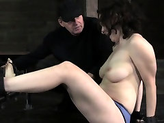 Busty mouth gagged bdsm sub bastinado