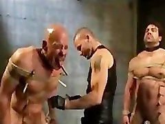 Naked bound gays clamped and flogged in group