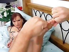 Redhead fucking and foot fetish in ripped up crotchless pantyhose
