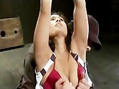 Bound on her knees babe gets her pussy and ass flogged