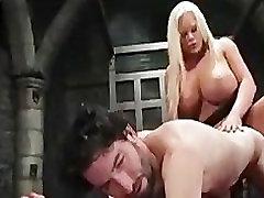 Ladyboy dominating on bondage man