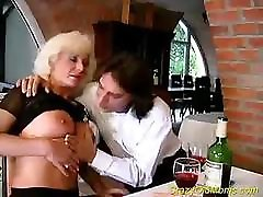 Crazy old mom goes after the younger man and gets fucked hard