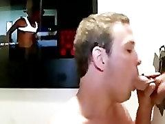 Gay gets glory hole facial
