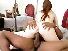 Cuckold cleanup - White hubby cleans black cum on his hot wife
