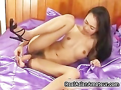 Petite asian babe strips and dildo part3
