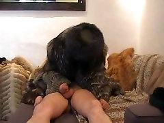 Asian femdom in fur coat punish his slave