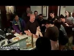 Big boobs babe gangbanged in late night eatery