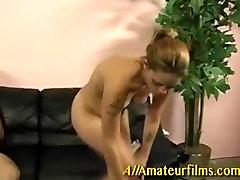 Amateur slut doing a hard handjob