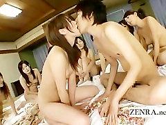 Subtitles Japanese schoolgirls engage in a harem orgy