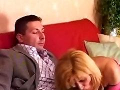 Blonde Milf in Black Stockings Fucks