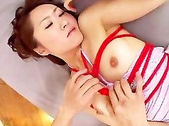 Bounded asian babe Nene Himejima sucks balls and rides cock