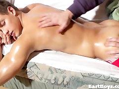 Beautiful guy gets massage