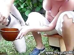 Weird fetish slut milked outdoors