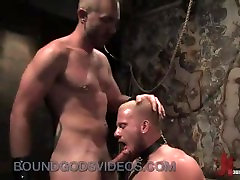 Blonde gay in bondage mouth fucked