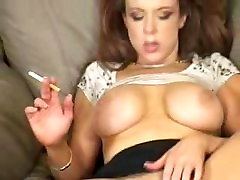 Big Titted Milf Smoke a cigarette and Masturbates - Smoking Fetish -