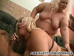 2 chubby amateur girls enjoy one cock at home