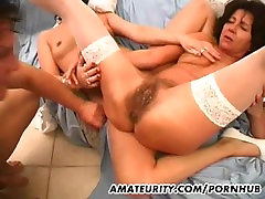 2 amateur mature wives share one cock with facial