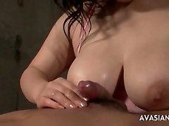 Big tit Asian blowjob
