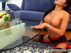 Asian bondage babe Lucy Lee eats cum