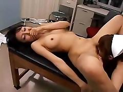Asian babes are in to licking wet pussy in a hospital room