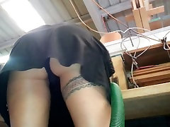 Upskirt in the woodshop with little thong panties - Lydia