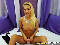 Blonde Shemale Jerk Offs Her Hard Shaved Cock