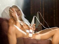 Chloe Toy smoking and masturbating with her magic wand
