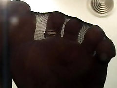 Smell my stinky nylon feet and jerk your dick
