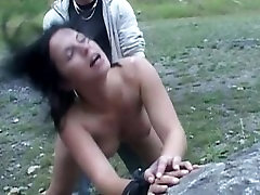 Brunette slut driven in a lost valley for spank and fuck