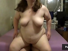 BBW facesitting and got her ass covered with cum