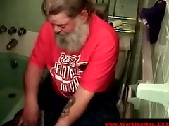 Straight fat redneck takes a shower