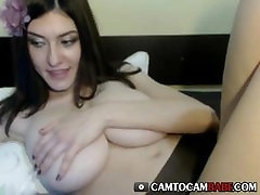 Beautiful woman with perfect tits on webcam