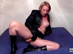 Blonde with Big Tits in all Leather Plays Masturbation Game With You