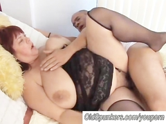 Beautiful busty mature BBW in sexy stockings
