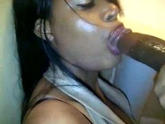 Ebony woman gives her co-worker a nice blowjob