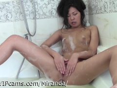 Asian cam girl in her bubble bath
