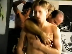 Muscled hunk watches two gay friends indulging in hardcore anal sex