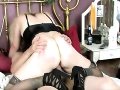 Hot mature nympho in black stockings is always ready to suck and fuck