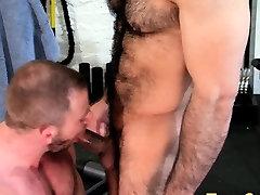 Brawny gay cum sprayed