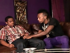 Two black thugs get naked to kiss, suck and fuck on the couch