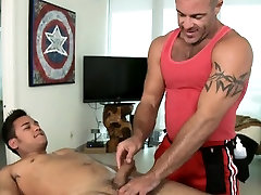 Cute twink gets a lusty massage from homo dude