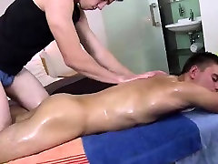 Oiled massage from young gay hunk for straight dude