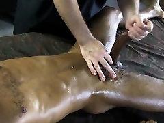 Ebony straight jock thick dick massaged
