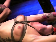 BDSM master punishes sub with many painful objects
