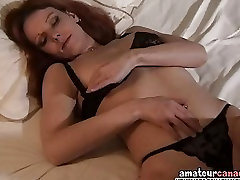 Hairy pussy wife fingers wet pussy with black panties