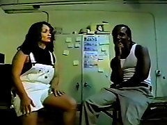 Black guy gets blown by horny curly-haired milf with tattoo
