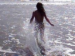 Sissy Asian Ladyboy Running in Thailand beach