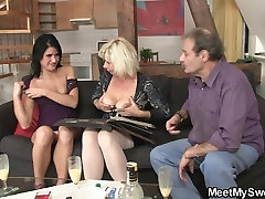 Teen cutie rides her BF&039;s old dad cock
