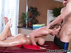 Busty Tanya Tates spreads them on table